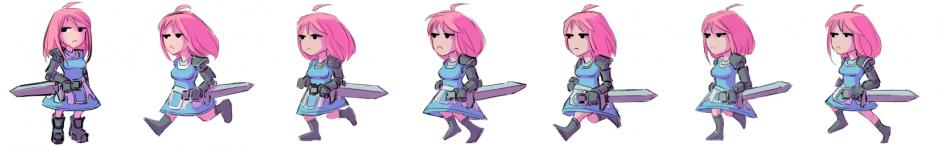 by nradiowave, набросок анимации, #девушка #рисунки #swordman #меч
