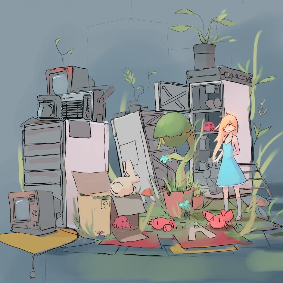 by nradiowave, подборка Растения и посадки :), #девушка #холодильник #набросок #рисунки